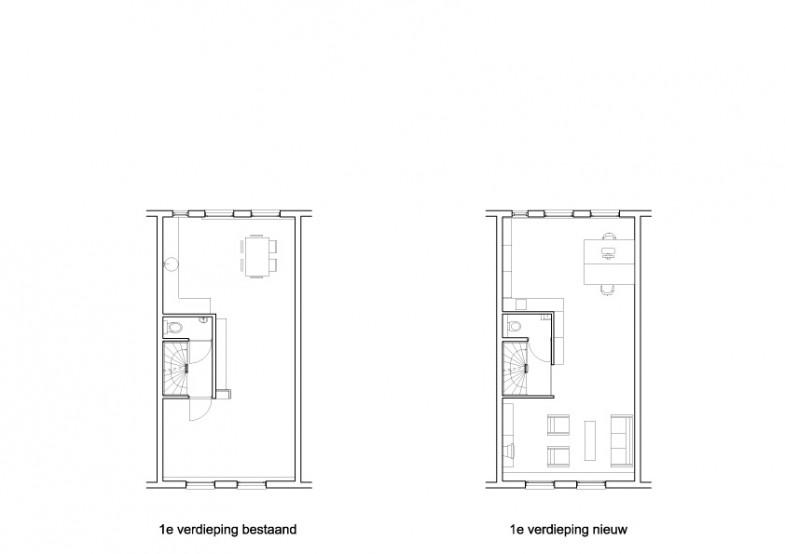 plattegrond verdieping bestaand en nieuw