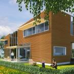 afbeelding van de woning vanaf de voorzijde vanaf de bossingel of de boomgaard