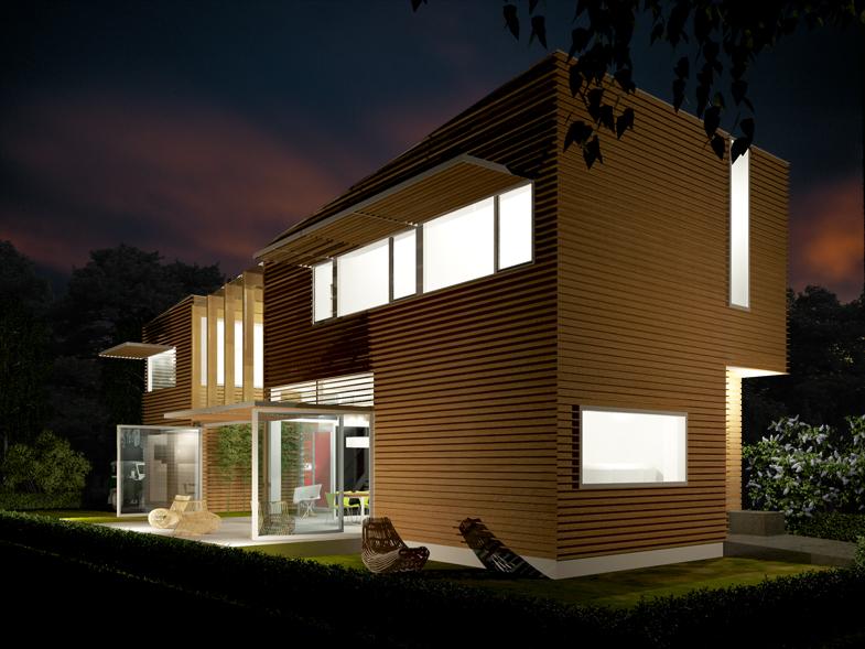 afbeelding van de woning bij nacht